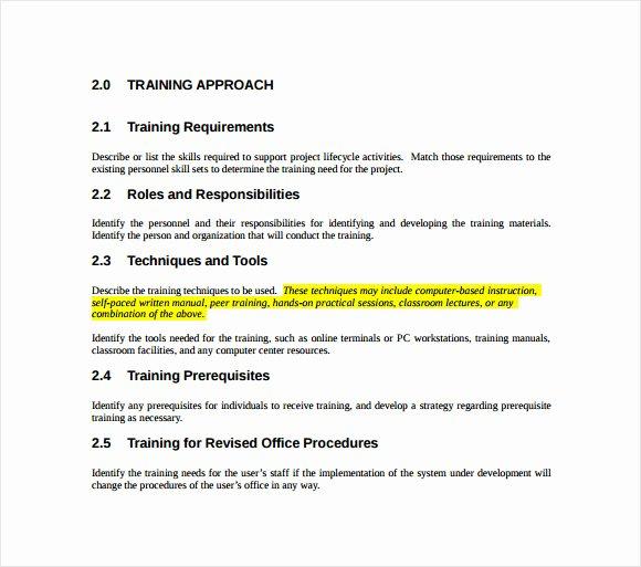 Training Development Plan Template Lovely Sample Training Plan 12 Example format