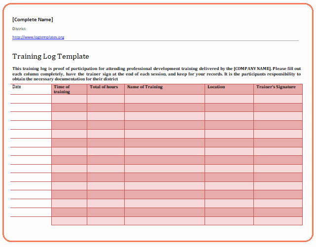 Training Log Template Awesome Training Log Template Download In Ms Word