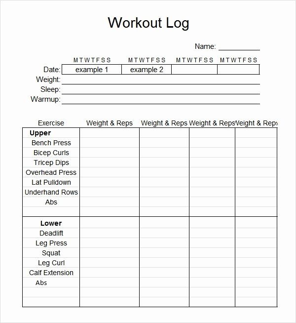 Training Log Template Beautiful Sample Workout Log Template 8 Download In Word Pdf Psd