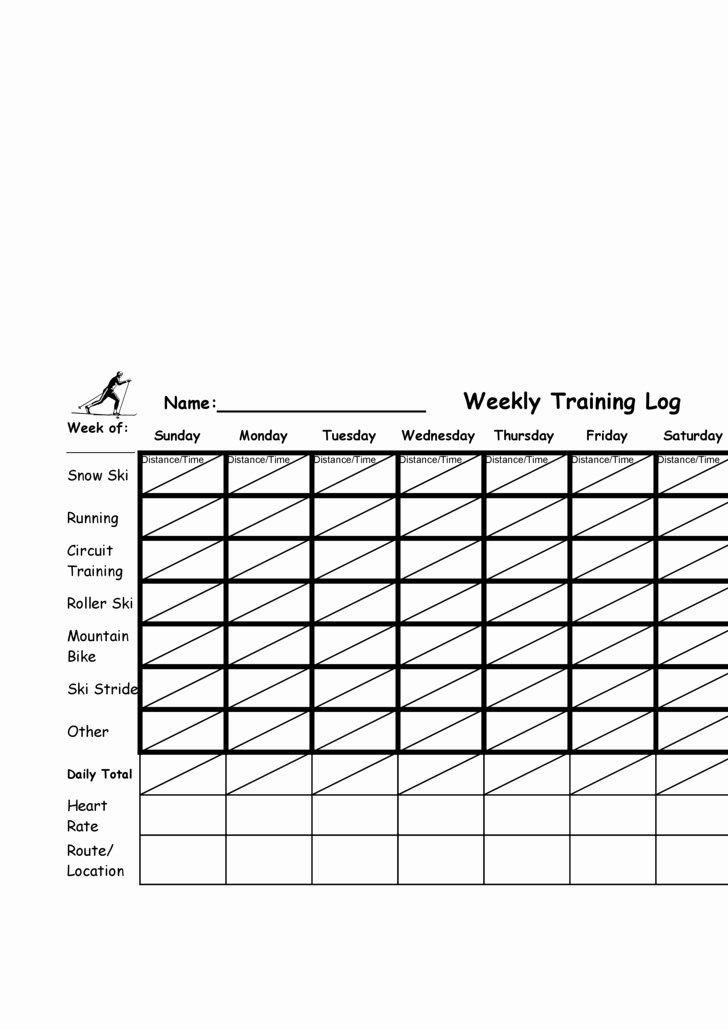 Training Log Template Fresh Training Log Template
