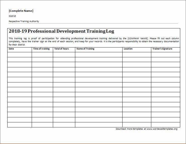 Training Log Template Lovely Professional Development Training Log