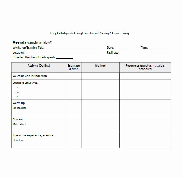 Training Outline Template Word Lovely 10 Training Agenda Templates Free Sample Example
