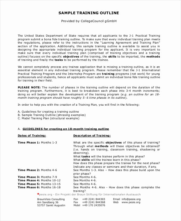 Training Outline Template Word Luxury Training Outline Template