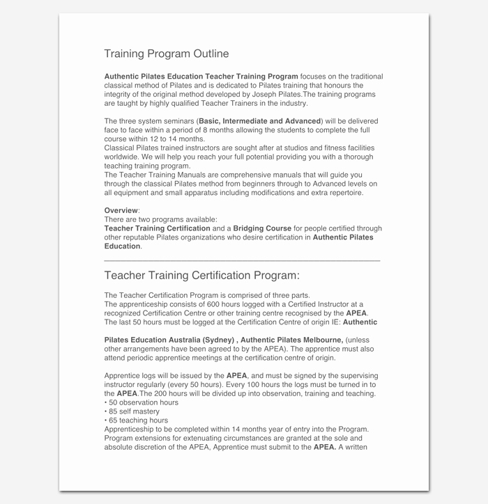 Training Outline Template Word Luxury Training Program Outline Template 19 for Word & Pdf