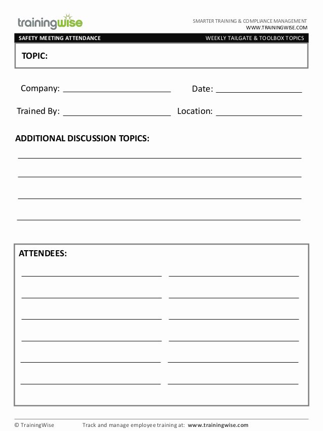 Training Request form Template Inspirational Safety Meeting form Free by Trainingwise