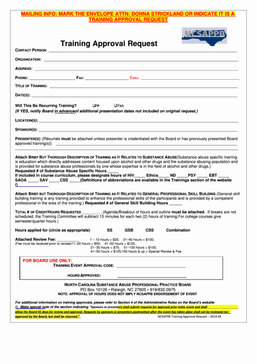Training Request form Template Luxury Fillable Ncsappb Training Approval Request form Printable