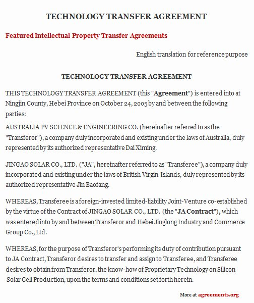 Transfer Of Business Ownership Agreement Template Beautiful Technology Transfer Agreement Sample Technology Transfer