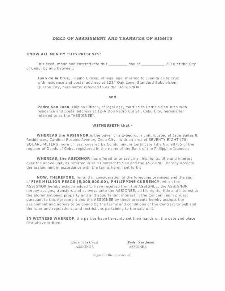 Transfer Of Ownership Agreement Template Best Of Unilateral Deed assignment California Writecow