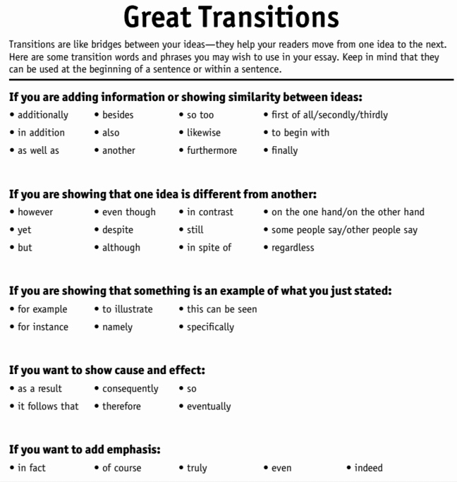 Transition Words for Papers Awesome Language Arts with Mr Mcginty Writing with Transition