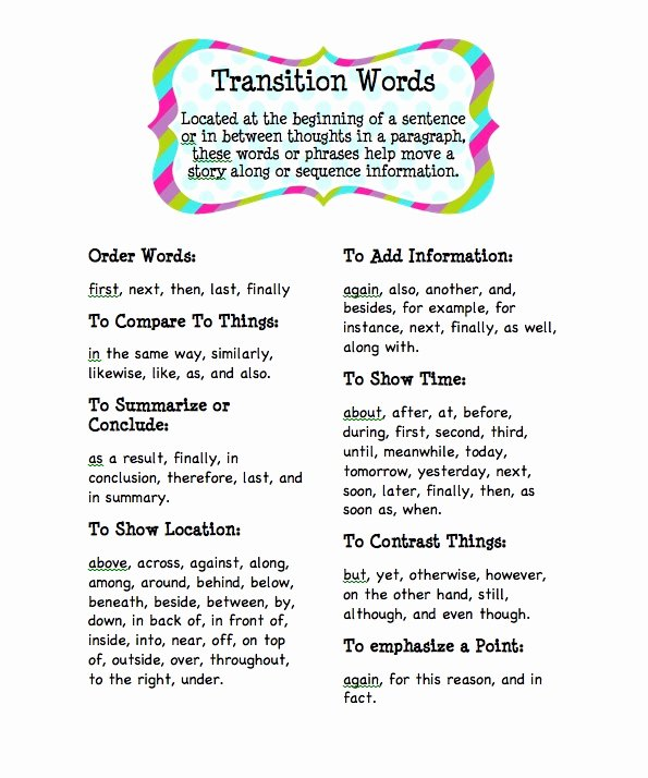 Transition Words for Papers Unique Live and Learn Deep