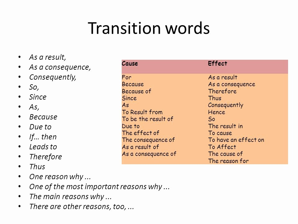 Transitions for Cause and Effect Beautiful Cause and Effect Essay Ppt Video Online