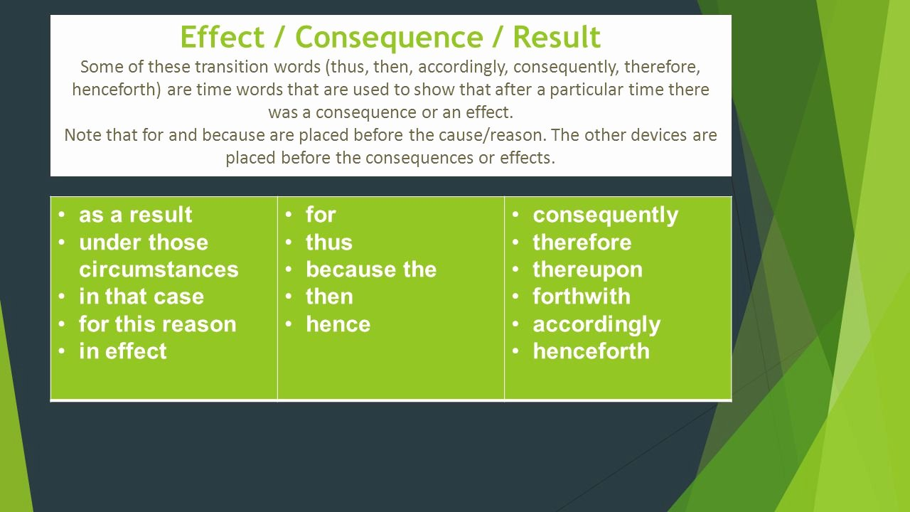 Transitions for Cause and Effect Beautiful Transition Words and Phrases Ppt Video Online