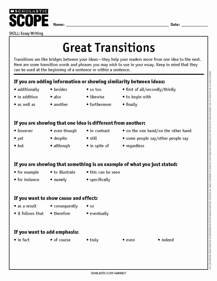 Transitions for Cause and Effect Inspirational Contrast Clipart Transition Word Pencil and In Color