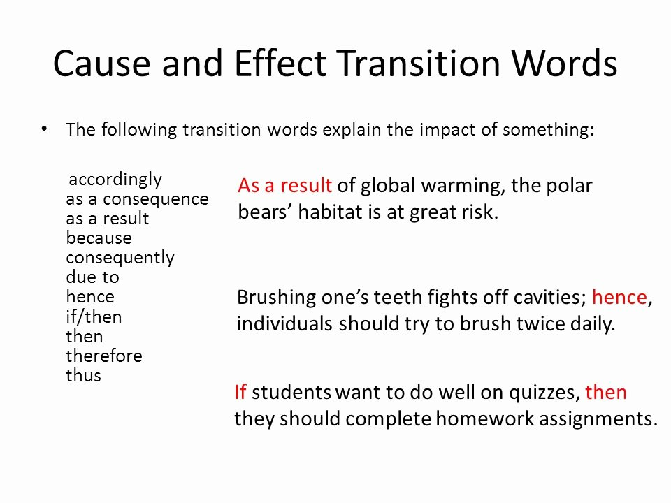 Transitions for Cause and Effect New Good Transition Words for Cause and Effect Essays for