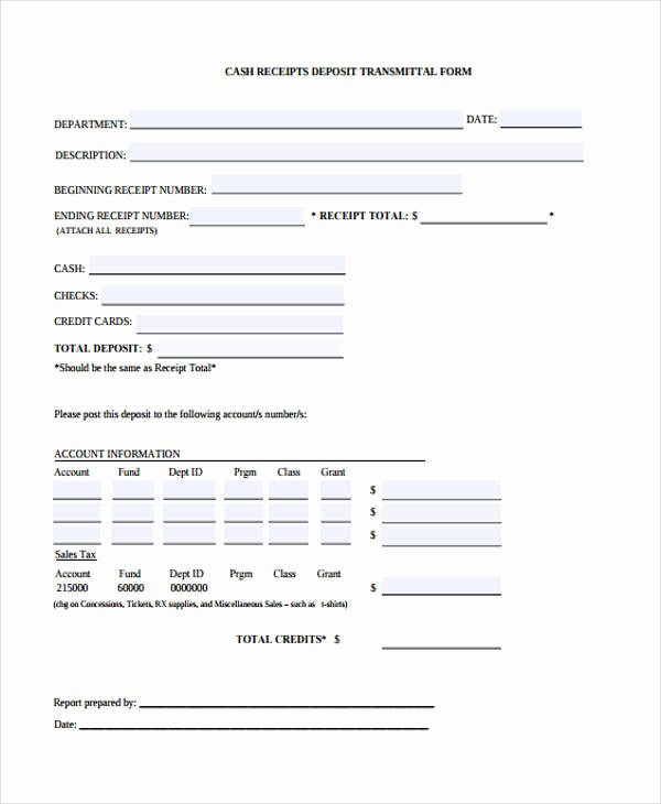 Transmittal form Sample Awesome 10 Cash Receipt form Sample Free Sample Example format