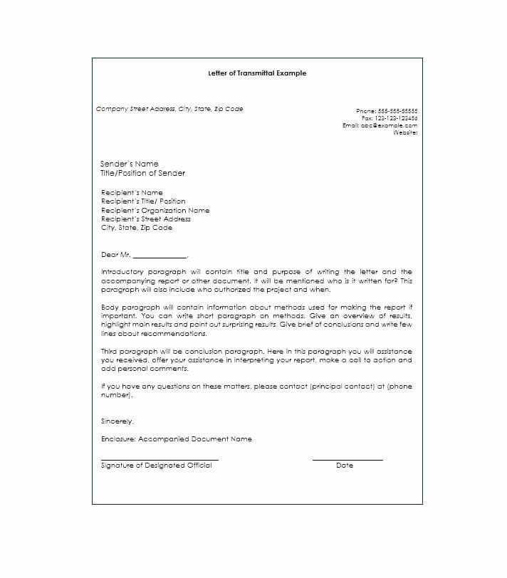 Transmittal form Templates Fresh Letter Of Transmittal 40 Great Examples & Templates