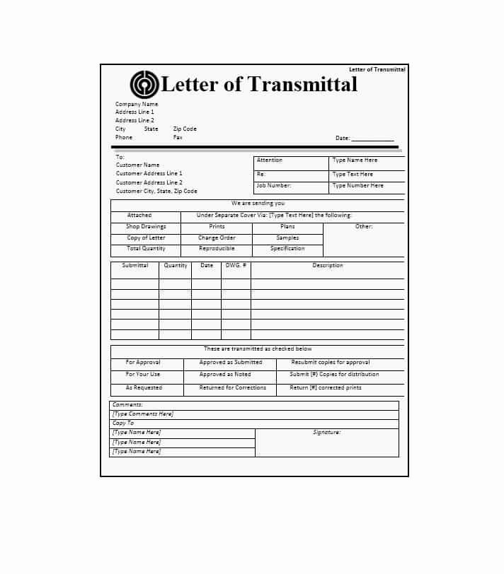 Transmittal form Templates New Letter Of Transmittal 40 Great Examples & Templates
