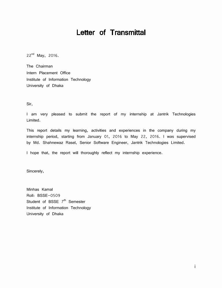 Transmittal form Templates Unique Letter Of Transmittal
