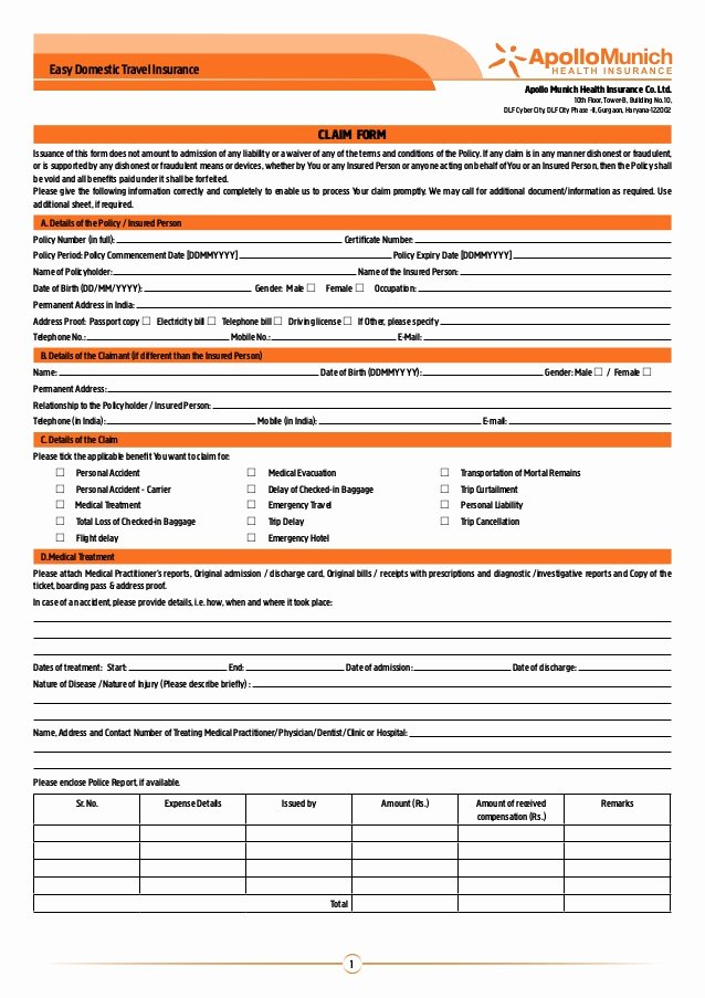 Travel Claim form Best Of Apollo Munich Easy Domestic Travel Insurance Claim form
