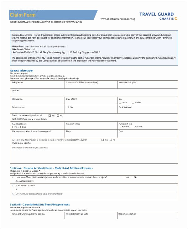 Travel Claim form Best Of Claim form Template