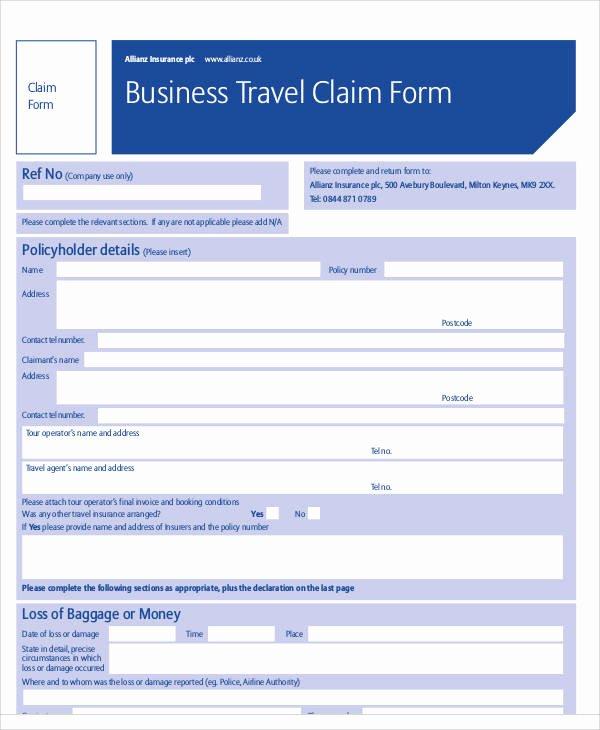 Travel Claim form Elegant 42 Sample Claim forms In Pdf