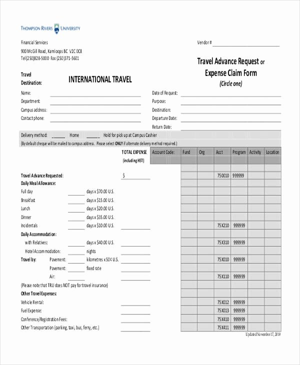 Travel Claim form Lovely Sample Travel Request form