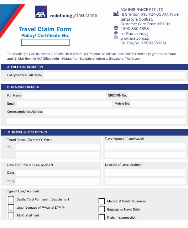 Travel Claim form Luxury 47 Free Claim forms