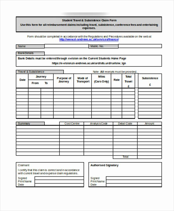 Travel Claim form Unique 32 Claim forms In Word