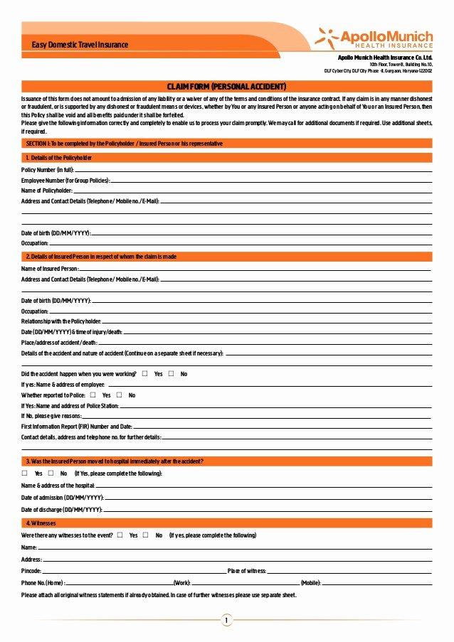 Travel Claim form Unique Apollo Munich Easy Domestic Travel Insurance Claim form