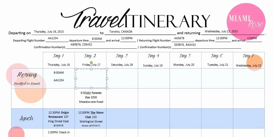 Travel Itinerary Template Word 2010 Awesome 6 Travel Itinerary Templates Word Excel Templates