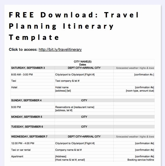 Travel Itinerary Template Word 2010 Awesome Travel Schedule Template