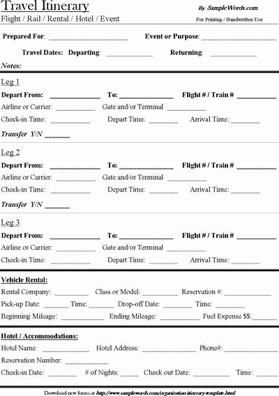 Travel Itinerary Template Word 2010 Beautiful Travel Itinerary Template Download Microsoft Word Document