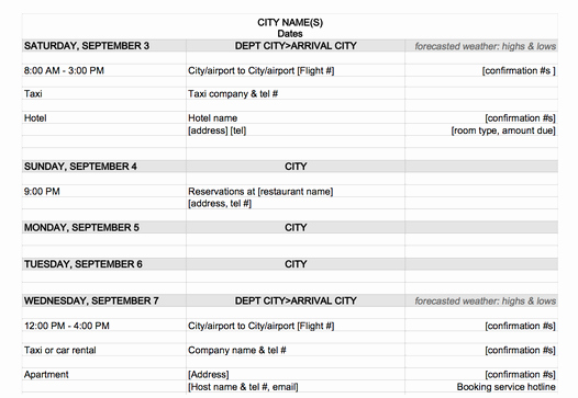 Travel Itinerary Template Word 2010 Best Of Travel Itinerary Maker