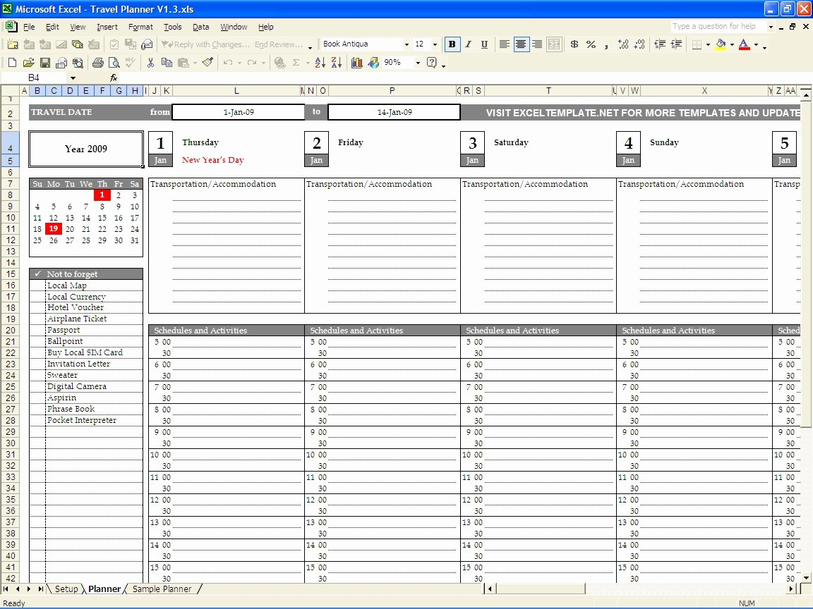 Travel Itinerary Template Word 2010 New Customer Visit Planner Template