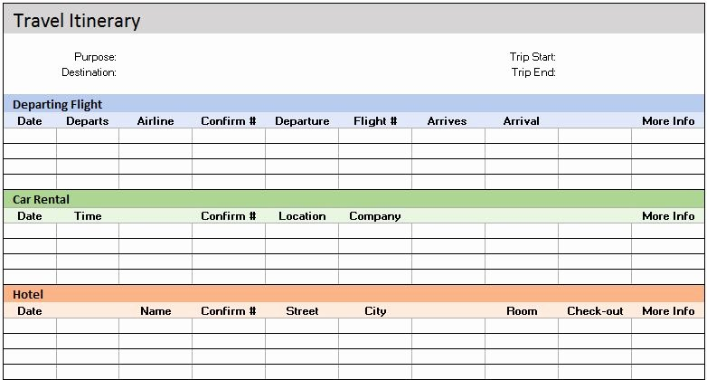 Travel Itinerary Template Word 2010 New Free Accounting Templates In Excel