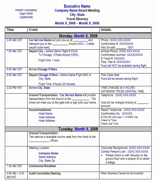 Travel Schedule Template Beautiful Travel Itinerary Template 8 Free Templates Schedule