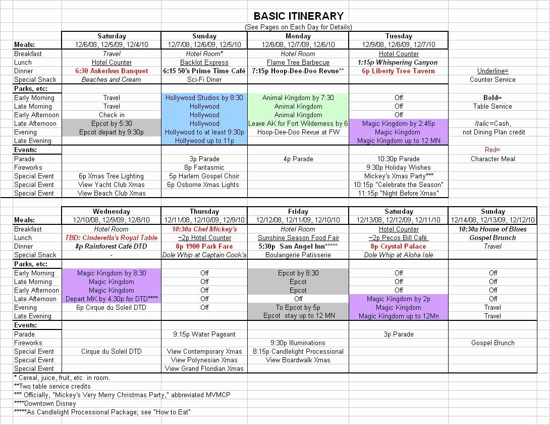 Travel Schedule Template Best Of Basic 2017 December Disney World Itinerary