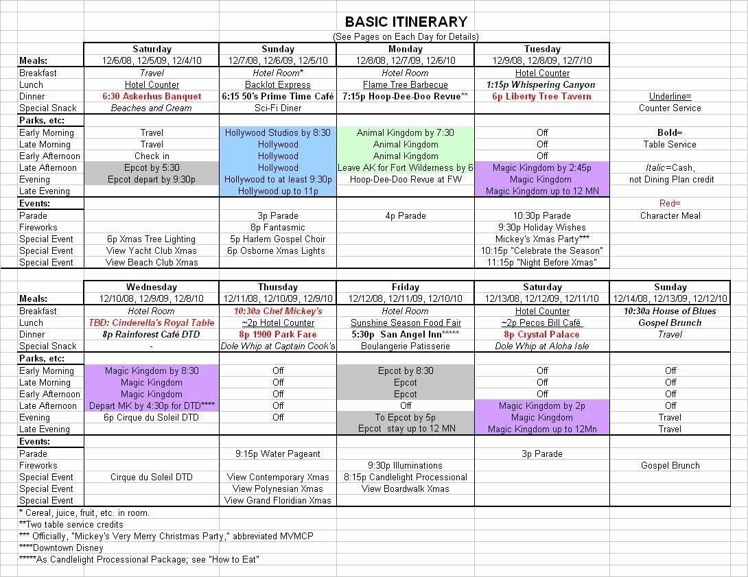 Travel Schedule Template Best Of Basic 2017 December Disney World Itinerary
