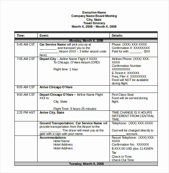 Travel Schedule Template Elegant Itinerary Template – 15 Free Word Excel Pdf Documents