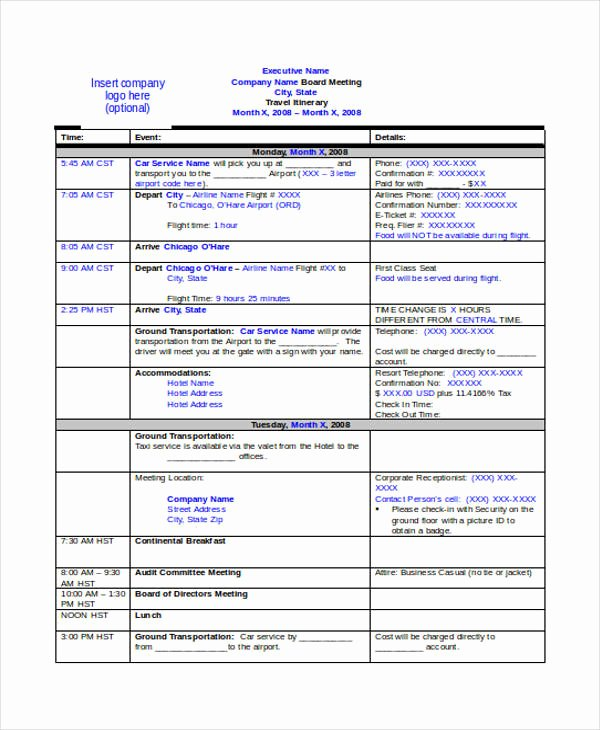 Travel Schedule Template Fresh 9 Travel Itinerary Templates Free Word Pdf format