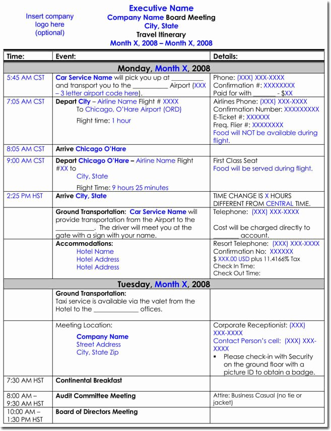Travel Schedule Template Lovely Free Itinerary Templates to Perfectly Plan Your Trips
