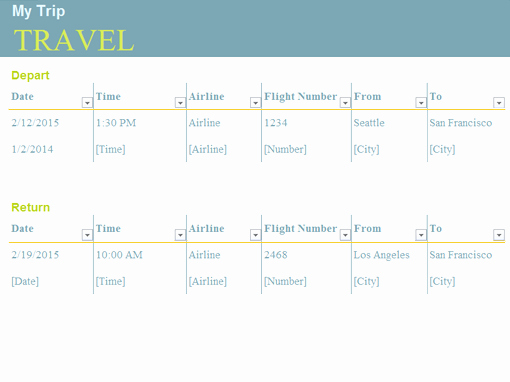Travel Schedule Template Luxury Planners and Trackers Fice