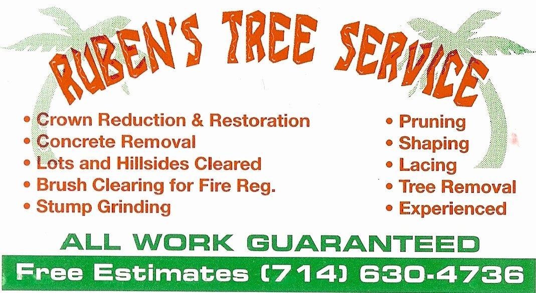 Tree Trimming Estimate Template Beautiful Ruben S Tree Service Business Card Listings