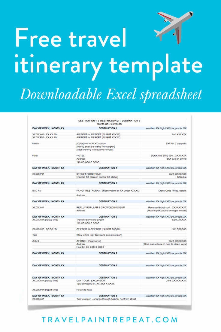 Trip Itinerary Template Google Docs Beautiful the Travel Itinerary Template I Use to Plan All My Trips