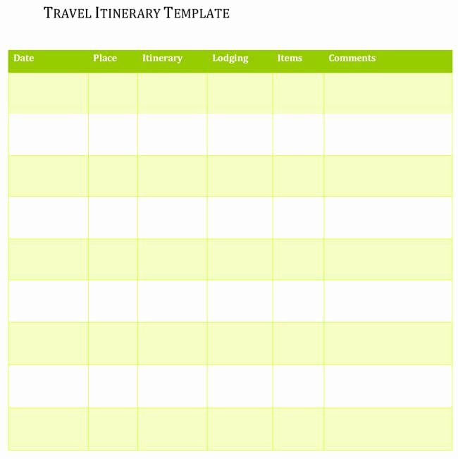 Trip Itinerary Template Google Docs Lovely 5 Travel Itinerary Templates for Excel and Word