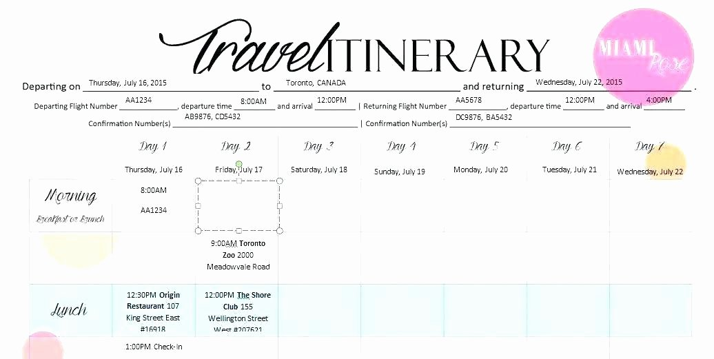 Trip Itinerary Template Google Docs Lovely Travel Itinerary Sample format – Innovanza