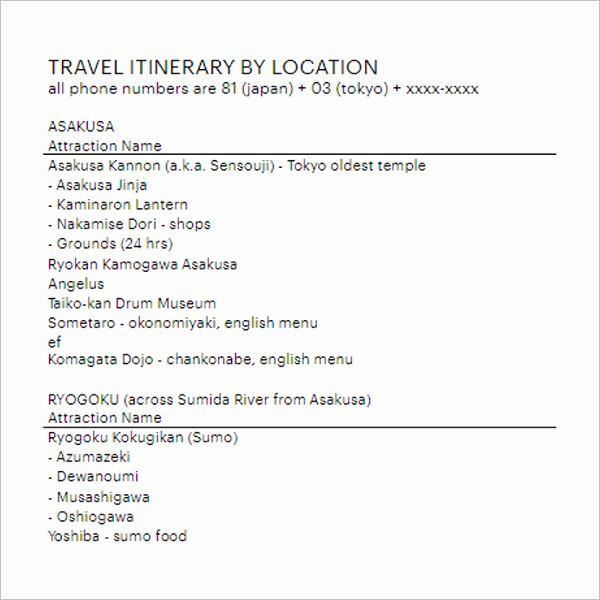 Trip Itinerary Template Google Docs Unique 14 Trip Agenda Templates Free Word Doc Pdf Example formats