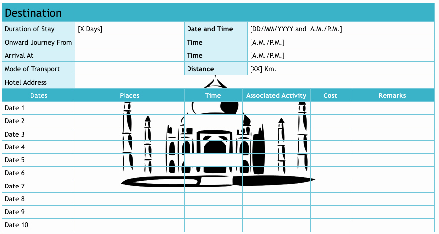 Trip Planner Template Excel Elegant 9 Useful Travel Itinerary Templates that are Free