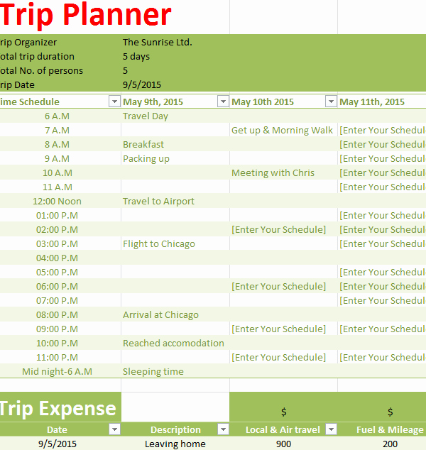 Trip Planner Template Excel Elegant Holiday Trip Planner My Excel Templates