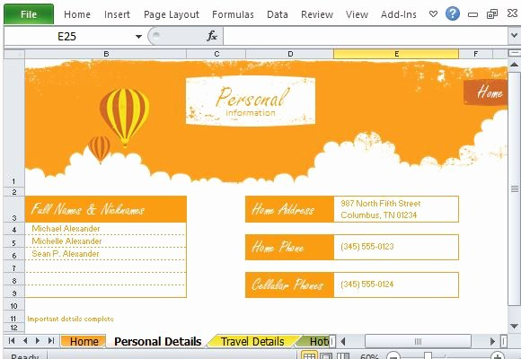 Trip Planner Template Excel Fresh Free Vacation Planner Excel Template